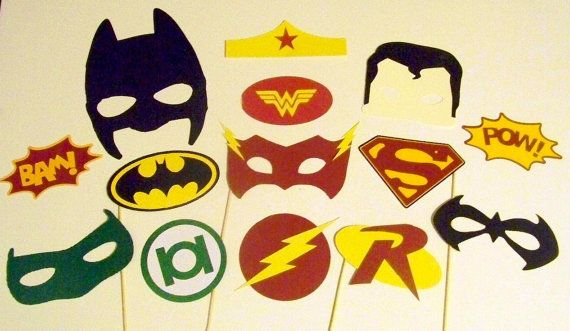 Photo Booth Props 14pc Super Hero Inspired by PimpYourParty, $35.00