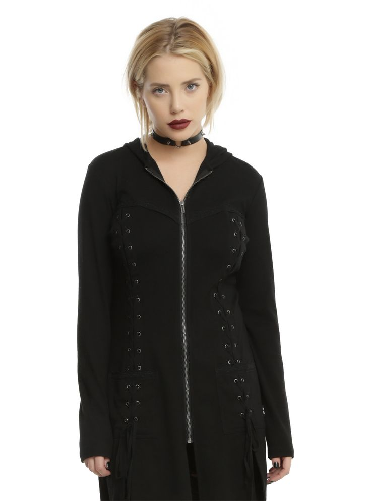 You'll be able to keep more than just your torso warm when you wear this hoodie from Royal Bones by Tripp. The black stadium length hoodie features a lace accented faux sweetheart neckline on front with a lace-up accent down either side of the front zipper closure. The two front pockets feature the same lace accent and lace-up detail. Whether you wear this as a hoodie or jacket, you'll be happy either way.    100% cotton  Hand wash cold; dry flat  Imported  Listed in junior...