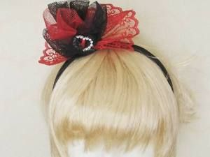Spanish Inspired RED AND Black Lace Fascinator ON Headband | eBay