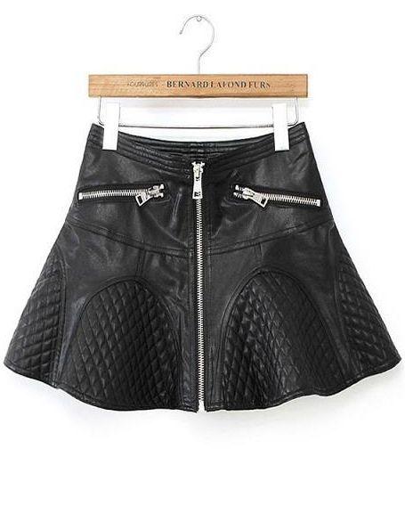 Black Zipper A Line PU Leather Skirt - Sheinside.com