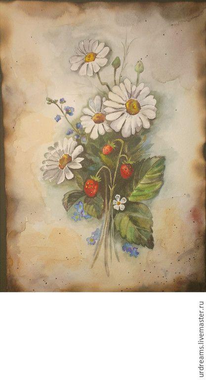 """Купить Акварель в старинном стиле """"Летний полдень"""" - разноцветный, ромашки, незабудки, летние цветы, земляника"""
