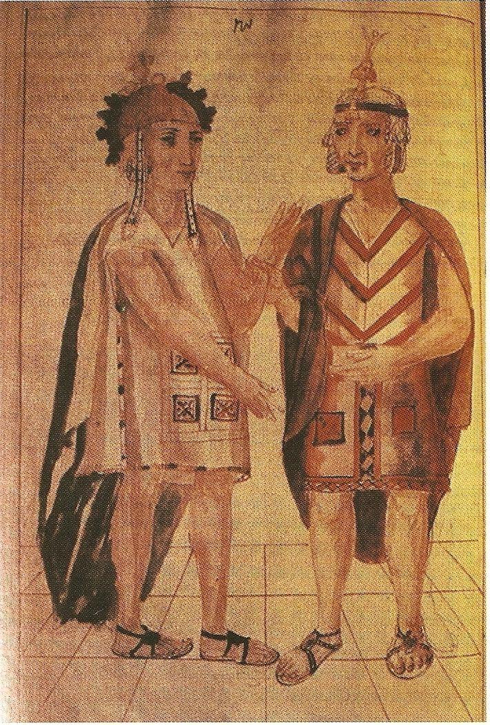 El Inca Pachacútec y su hijo, el príncipe heredero Túpac Yupanqui (dibujo de Martín de Murúa). (Arte Inca)