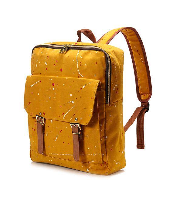 Quadrat gemalt Rucksack Senf von BagDoRi auf Etsy