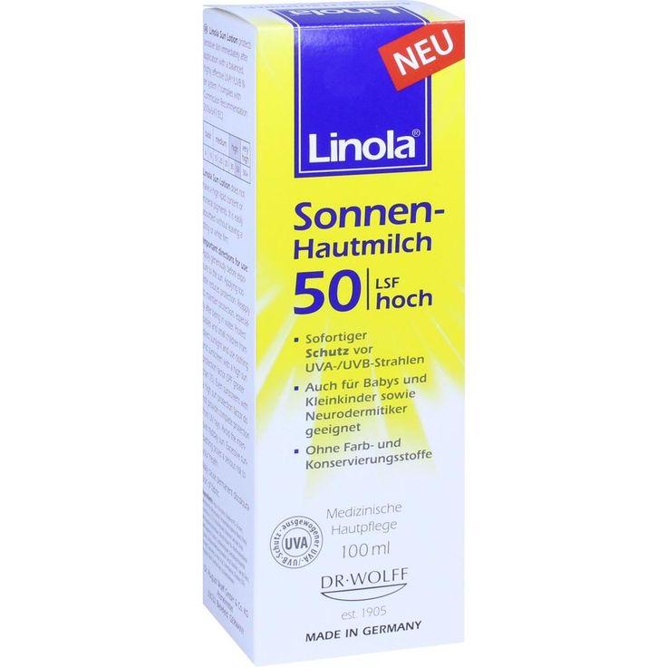 LINOLA Sonnen-Hautmilch LSF 50:   Packungsinhalt: 100 ml Lotion PZN: 11637166 Hersteller: Dr. August Wolff GmbH & Co.KG Arzneimittel…