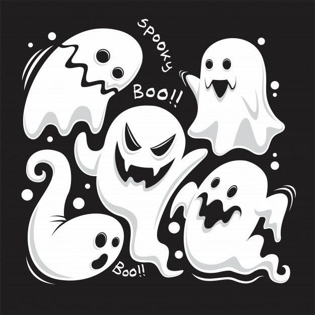 Conjunto Completo Fantasmas únicos De Celebración De Halloween Vector Premium Dibujos De Halloween Faciles Fantasmas De Halloween Ilustración De Halloween