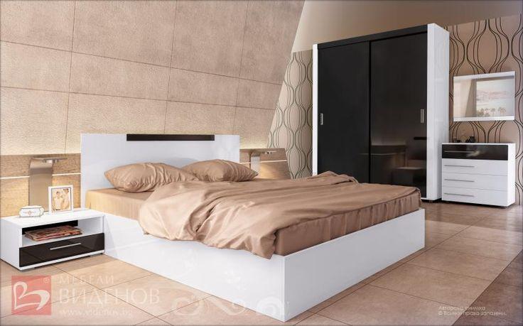 Dormitor Jaqueline | alb + negru lucios