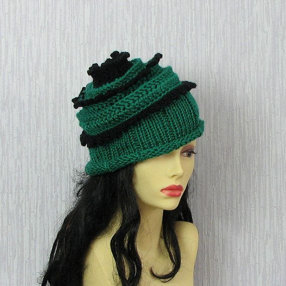 Hand knitted ladies slouchy beanie  Womens  Hats by AlbadoFashion
