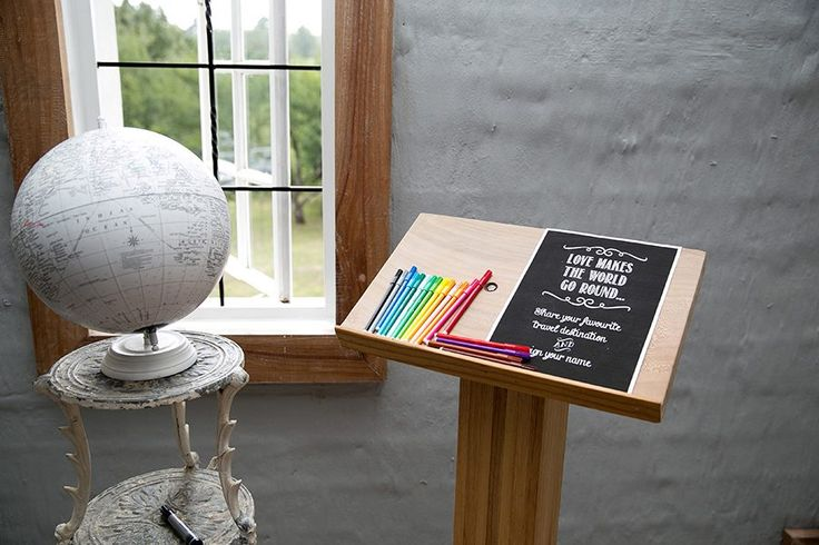 Globe guest book. A novel idea for those with wanderlust. Holly and Peter's wedding.