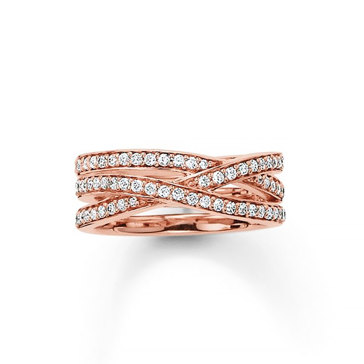 Thomas Sabo pavè zirconia criss cross sterling silver rose gold plated ring $319.