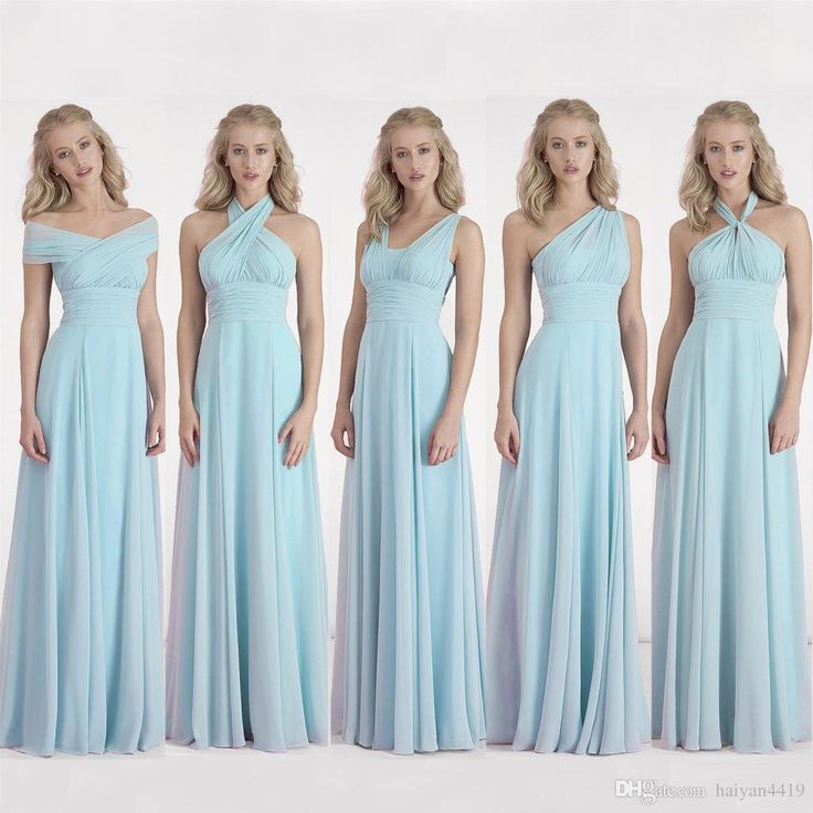 2017 New Cheap Convertible Bridesmaid Dresses Sky Blue Chiffon Long Summer Beach Open Back For Wedding Guest Dress Maid of Honor Gowns Long Bridesmaids Dresses 2017 Bridesmaid Dresses Convertible Bridesmaid Dress Online with $101.72/Piece on Haiyan4419's Store   DHgate.com
