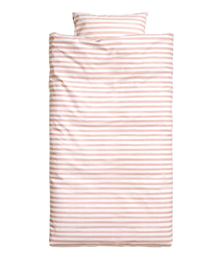 Check this out! Twin duvet cover set in cotton fabric with printed stripes. Duvet cover fastens at foot end with concealed metal snap fasteners. One pillowcase. Thread count 144. - Visit hm.com to see more.