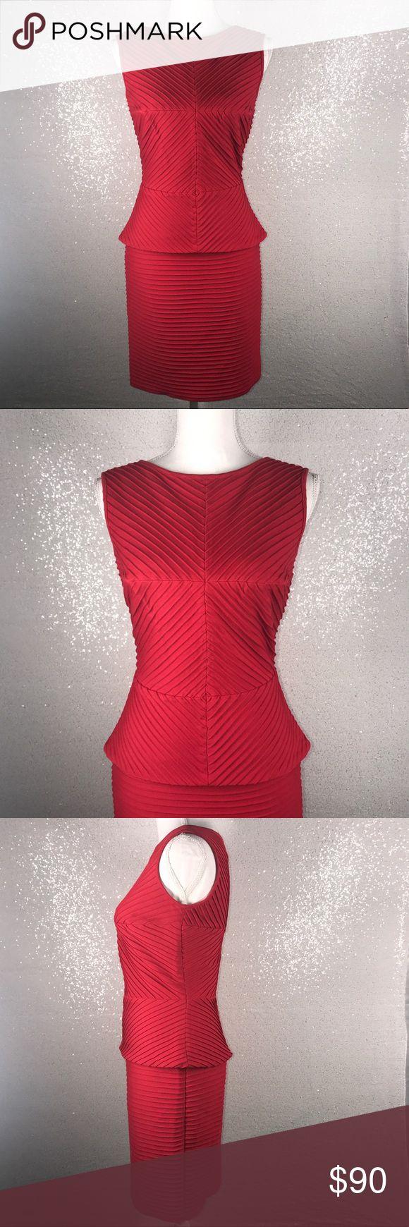 "[Tadashi shoji] Red dress Tadashi Shoji Women's XS  sleeveless  Red Pleat peplum dress  Great condition  Measurements laying flat:  Armpit to armpit: 16.5"" Waist: 14"" (28"" waist)  Length: 33"" Tadashi Shoji Dresses"