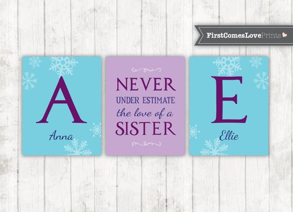 Frozen Sister Bedroom Art  Personalized by FirstComesLovePrints