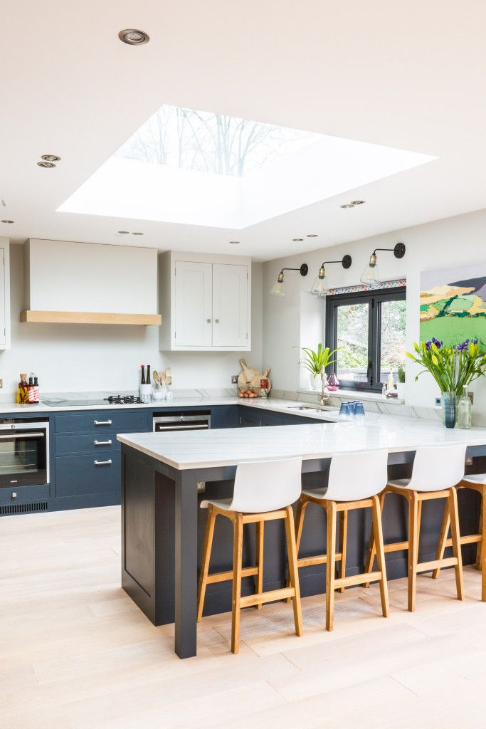 Find out about the inspiration behind this gorgeous light and airy shaker kitchen in London and see photos of the dining room and living area.