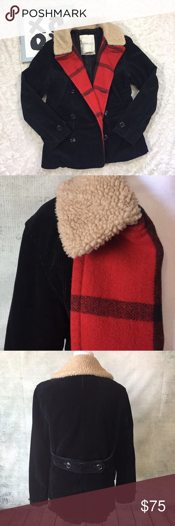 RL Sheep Fur Buffalo Print Black Jacket Coat Ralph Lauren Demin and Supply Buffalo Print / Sheep Skin / Corduroy Black Jacket Coat.  Size Small. Under placket is wool. Measurements - In inches, taken flat and are approximate (double where appropriate): 29 length 19 bust Denim & Supply Ralph Lauren Jackets & Coats