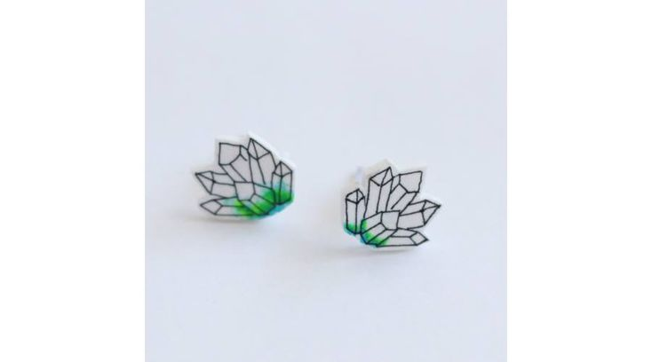 Ásvány alakú fülbevaló - zöld, Zenzero kristályékszerek webshopja