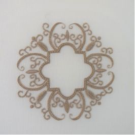 This different type of Italian embroidery is classic in style using neutral coloured threads on an ivory cutwork type fabric. The embroidery is all surface stitches so there is no counting. For thi…