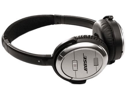 Bose's QuietComfort 3 headphones offer a compact design, extracomfortable cushy foam earpieces, a rechargeable battery, full sound, and effective noise-canceling circuitry, and they fold up for storage in the included carrying case.