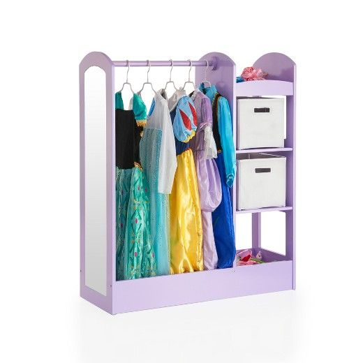 Whether in the playroom or tucked into a closet, this Clothing Armoire from Guidecraft will keep your space neat and tidy and clothes at easy reach. Hang clothes, costumes and more from the top bar, fill the shelves with anything from toys to socks and then take a look at the sweet outfit that you just put together in the mirror on the side.