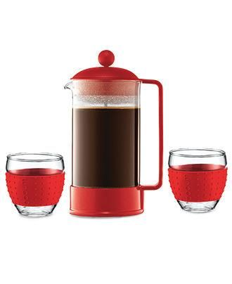 A modern French press with silicone lined cups