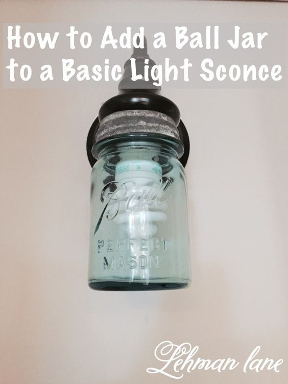 Last night after we put the kids to bed we made a ball jar light by adding a Ball jar to our newly installed wall sconce in our basement hallway.