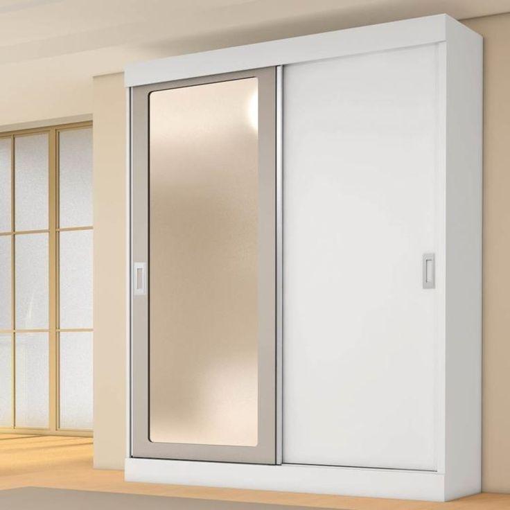 Guarda-Roupa Solteiro 2 Portas com Espelho Rubi Móveis Europa Branco/Branco/Preto