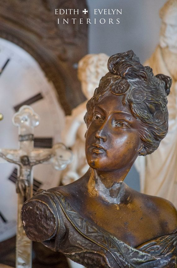 Antique French Art Nouveau Bust Circe 1900's by edithandevelyn