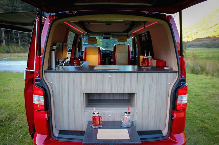 This design layout was created for cooking inside & outside the van.