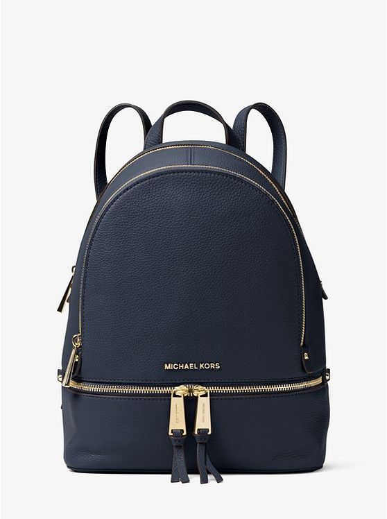 39d5afee9b30 MICHAEL KORS Rhea Medium Leather Backpack in Admiral Navy