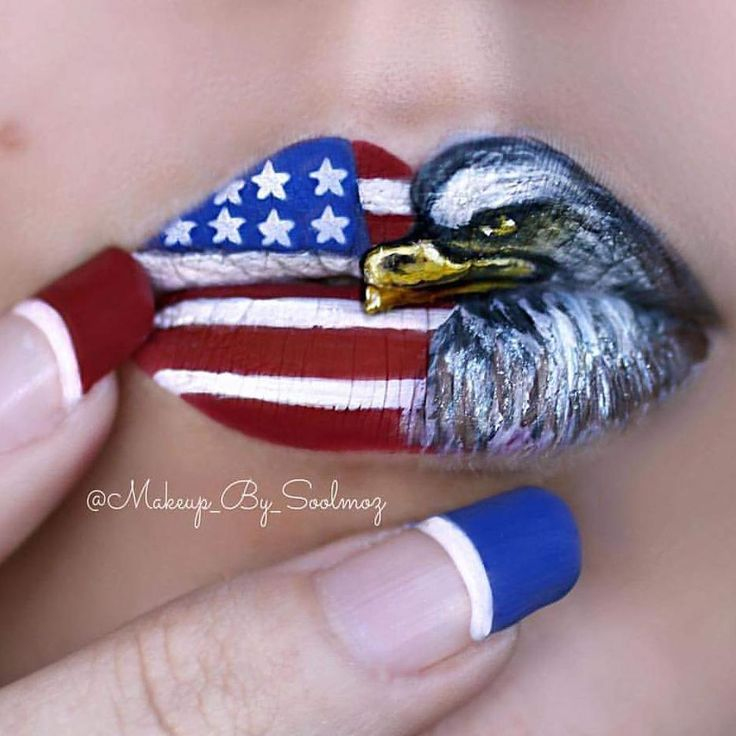 Nothing more American than this gorgeous Lip Art by @makeup_by_soolmoz using #paradisemakeupaq from our friends at @MehronMakeup  #mehronmakeup #4thofjulymakeup #mehronlips #mehron #USA  Contact us at 585-482-8780 for help with your next killer look or check out select costumes and accessories on our website www.arlenescostumes.com including theatrical makeup and tools