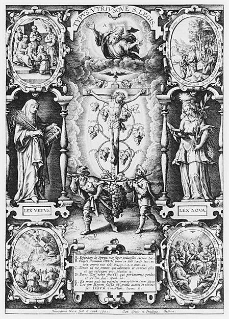 """Typus Utriusque S. Legis. Hieronymus Wierix (c. 1553-1619), Kupferstich, Berlin, 1607. Links: Beschneidung, """"Lex vetus"""", Gesetzesübergabe an Moses. Rechts: Taufe Christi, """"Lex nova"""" und Pfingsten. In der Mitte: Christus als Weinstock und die Kundschafter mit der Traube"""