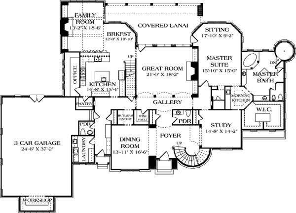 first floor plan of country european house plan 85645