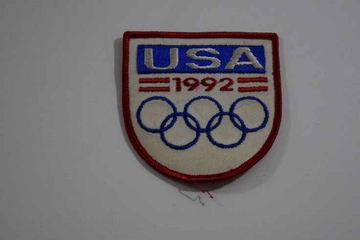 VINTAGE-1992 Olympics Patch-USA-Used Condition-RED WHITE & BLUE SHIELD