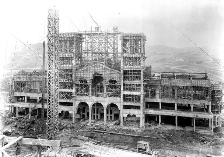 (1928) - View showing Royce Hall under construction with cranes and scaffolding. Royce Hall was built between 1928 and 1929.