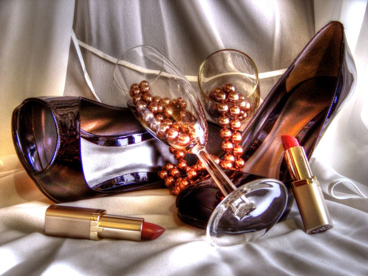 """Fine Art Photography - High Dynamic Range (HDR) Photograph """"Ultra Chic"""" (Fashion, Beauty, Lip Stick, Shoes, High Heels, Black, Glasses, White, Still Life, Contemporary)"""