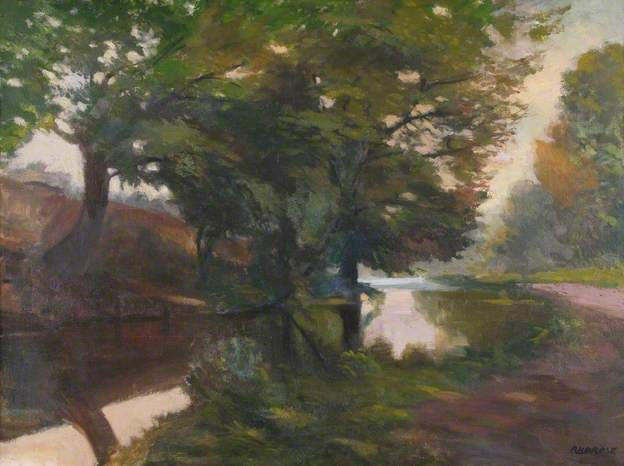 Landscape with Pool and Trees by John Ambrose 1931