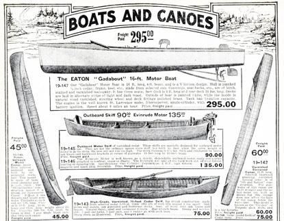 Boats and Canoes  Eaton's Catalogue  1919