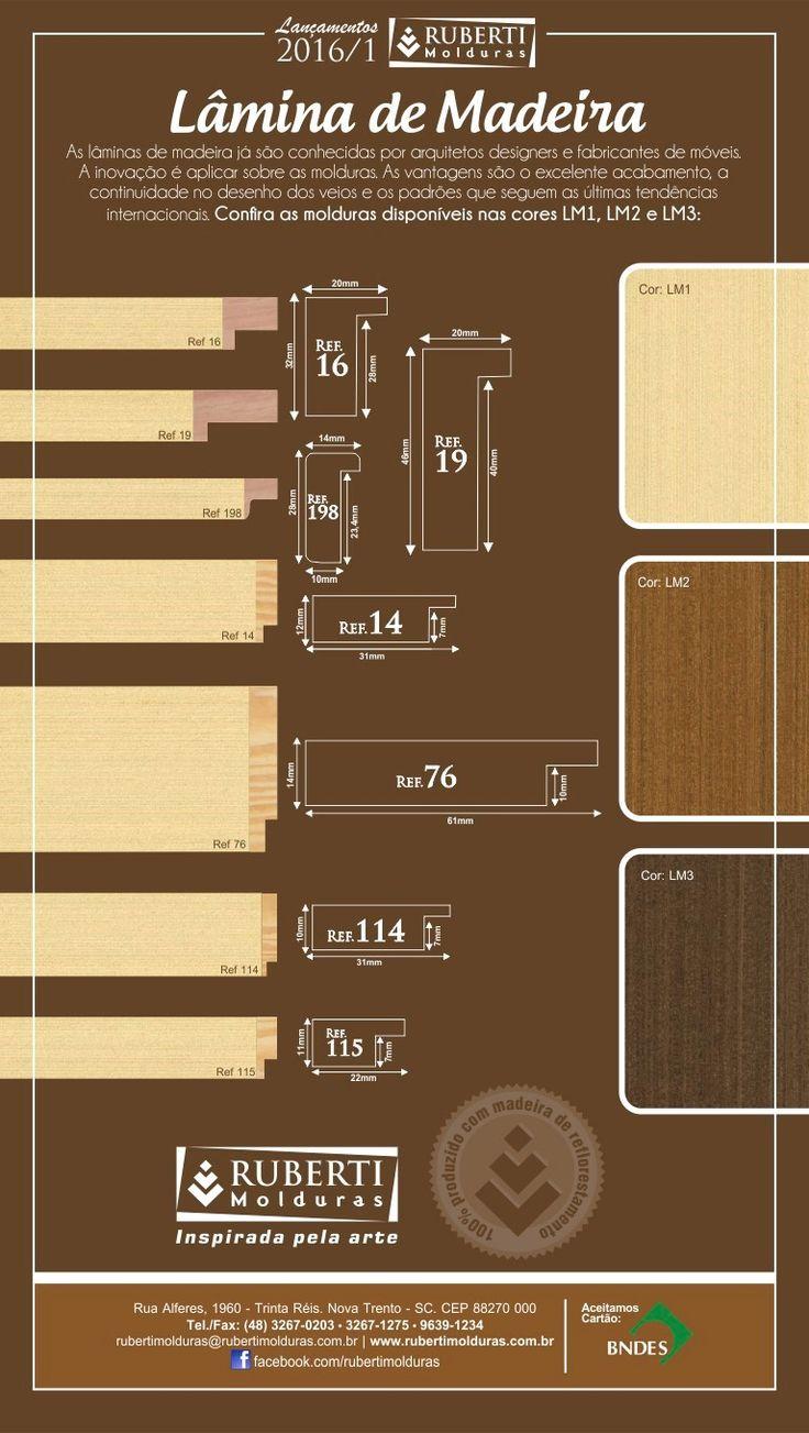Lançamentos 2016 :: Lâmina de Madeira  As lâminas de madeira já são conhecidas por arquitetos, designers e fabricantes de móveis. A inovação é aplicar sobre as molduras. As vantagens são o excelente acabamento, a continuidade no desenho dos veios e os padrões que seguem as últimas tendências internacionais.  #lançamentos #lâminademadeira #inspiradapelaarte #molduras #rubertimolduras #ruberti2016 #rubertimolduras2016 #novatrento
