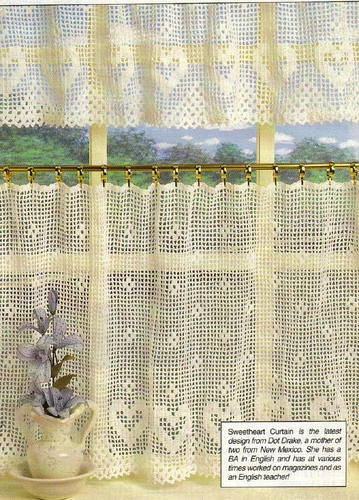 Crochet Pattern Sweetheart Curtain and Valance Heart Motif | eBay