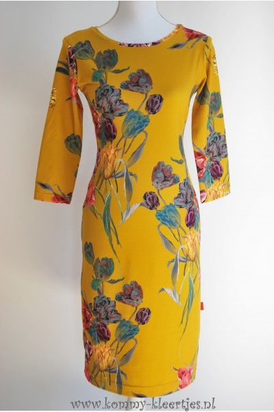 5c36d022c0c767 Dames jurk okergeel tulpen  okergeel  jurk  damesjurk  tulpen  handgemaakt   dameskleding