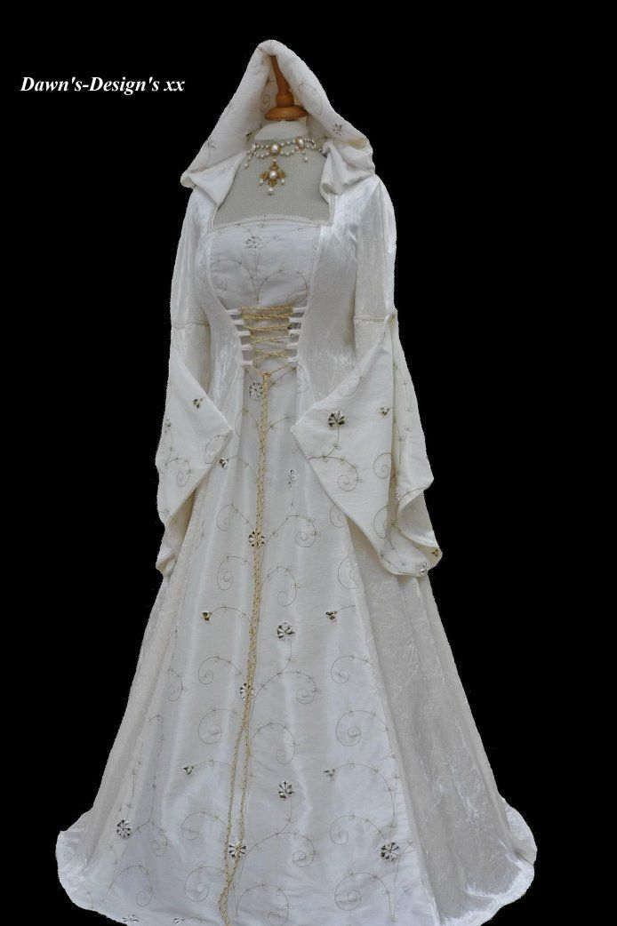 Ivory Medieval Renaissance Hooded Wedding Dress Pagan, Dawns Medieval Dresses