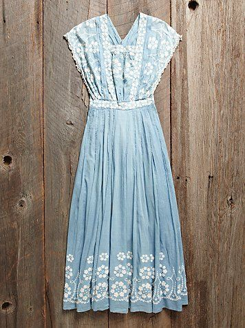 ~Vintage 1930s Blue Embroidered Dress~ Women's vintage fashion history clothing for spring summer
