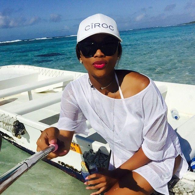 #BonangM enjoying a #selfiestick moment in #Mauritius. #CirocTropicalLiving