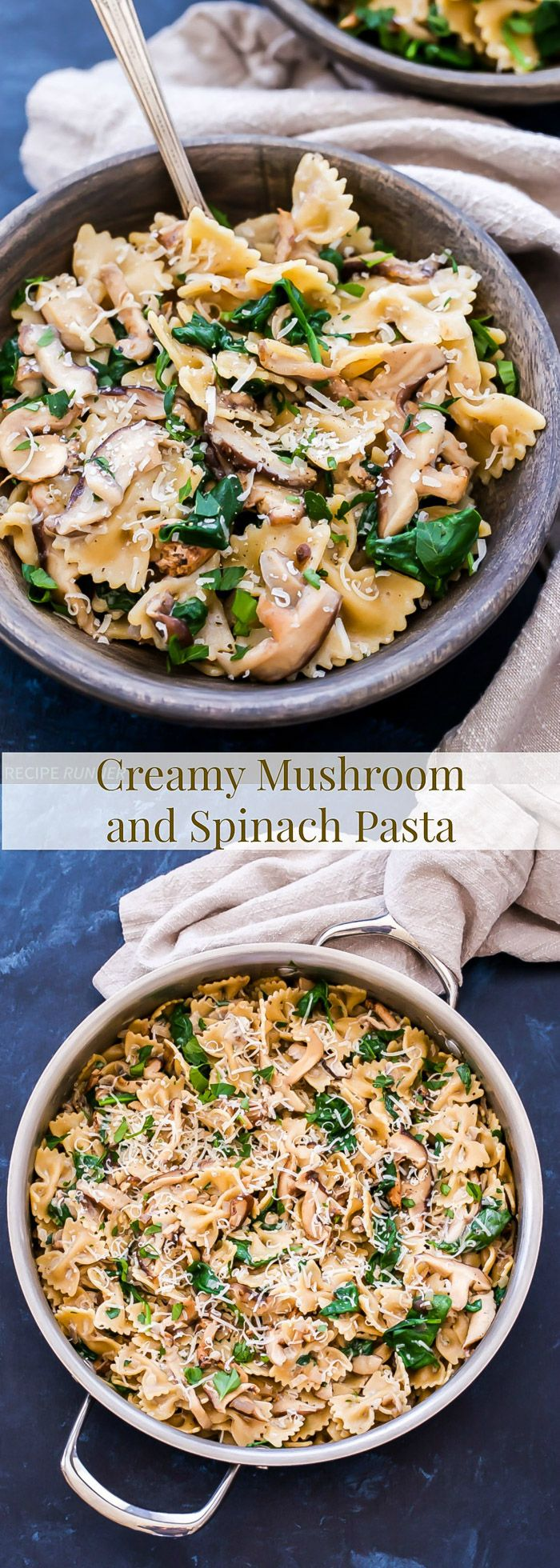 Creamy Mushroom and Spinach Pasta is an easy, but elegant vegetarian pasta dish. Hearty mushrooms and whole wheat pasta make it a filling main dish without any meat! | www.reciperunner.com