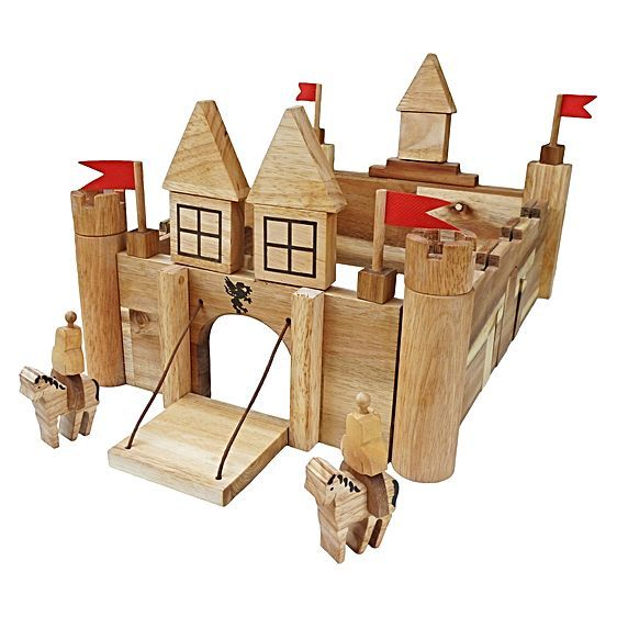 Your little one will be dreaming up an array of fantastical narrative with help from the Wooden Castle Building Set from QToys.