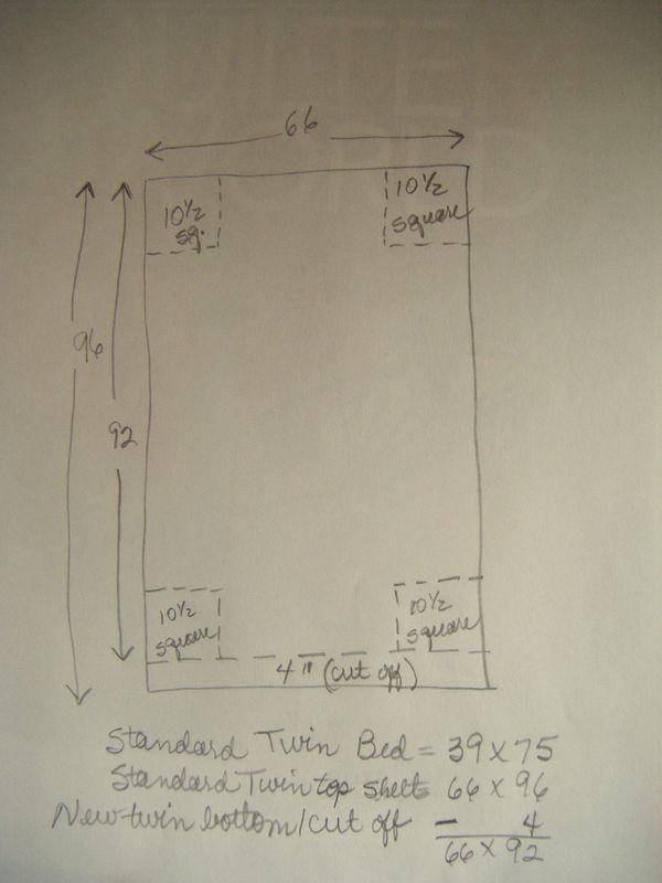 How to make twin fitted sheet out of flat sheet - with measurements