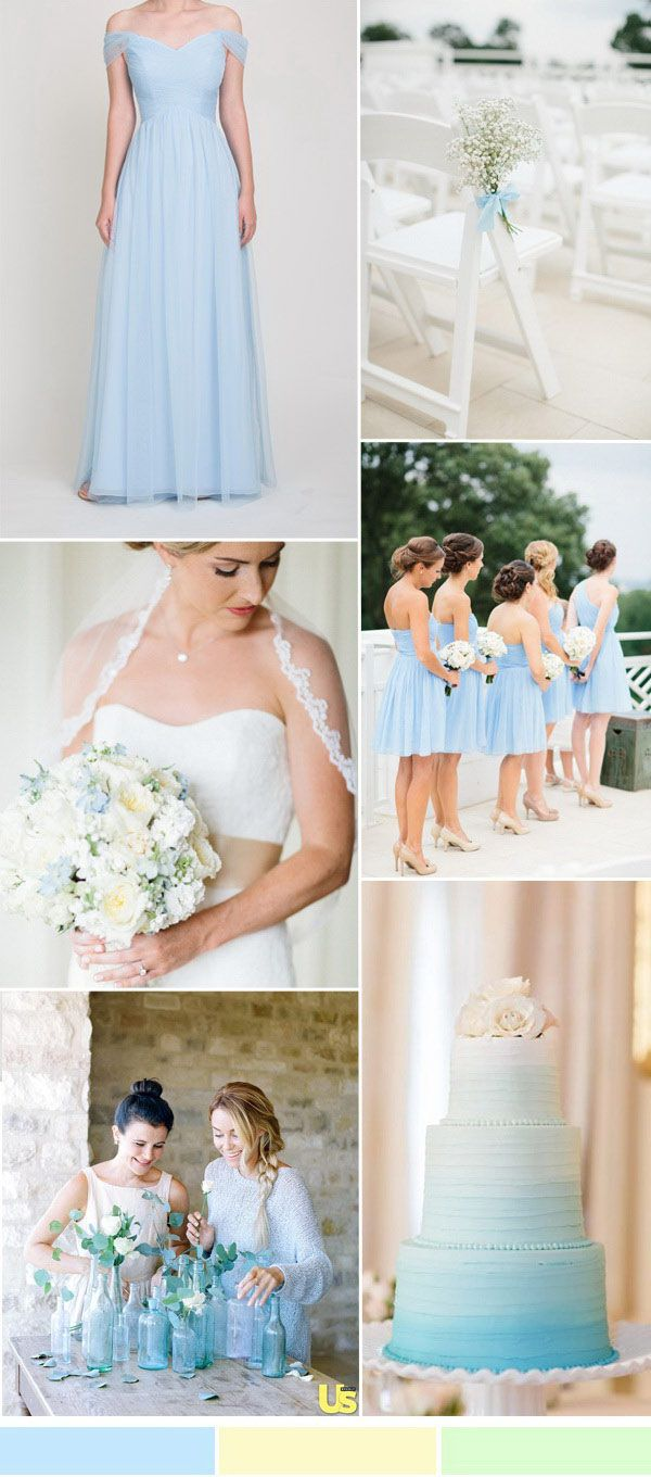 light blue and yellow wedding colors 2016 and tulle bridesmaid dresses