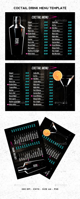 Coctail Drinks Menu Template #design Download: http://graphicriver.net/item/coctail-drinks-menu-template/11341683?ref=ksioks