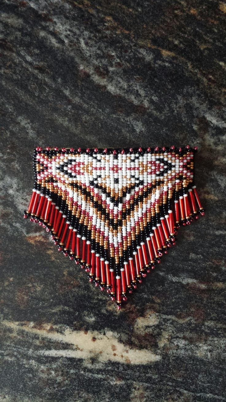 SALE Beautiful Red Native Style Beaded Barrette by sjhcreations