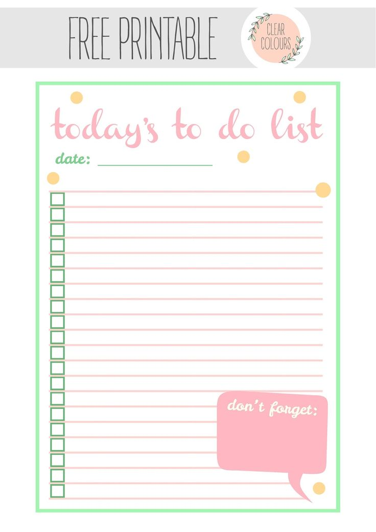 Free Printable To do List from clear colours